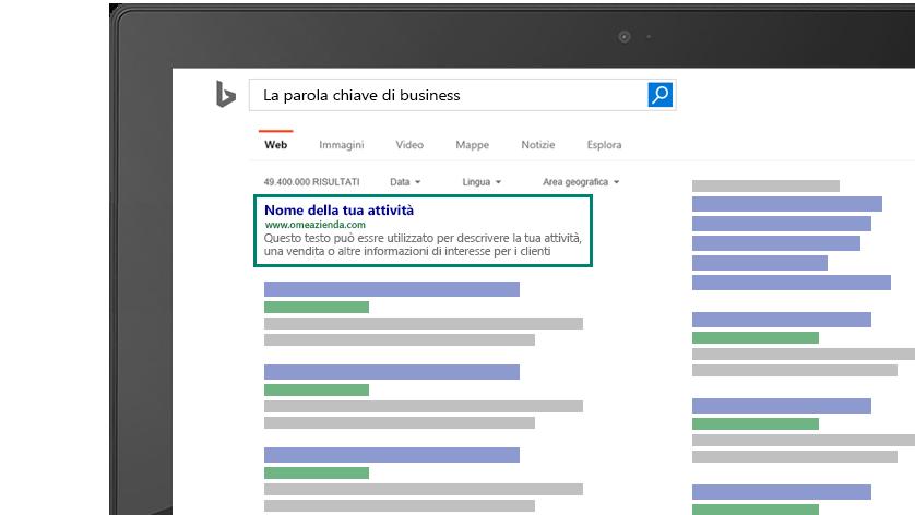 Screenshot con la preview di come l'annuncio per la keyword del tuo business apparirà su Bing.