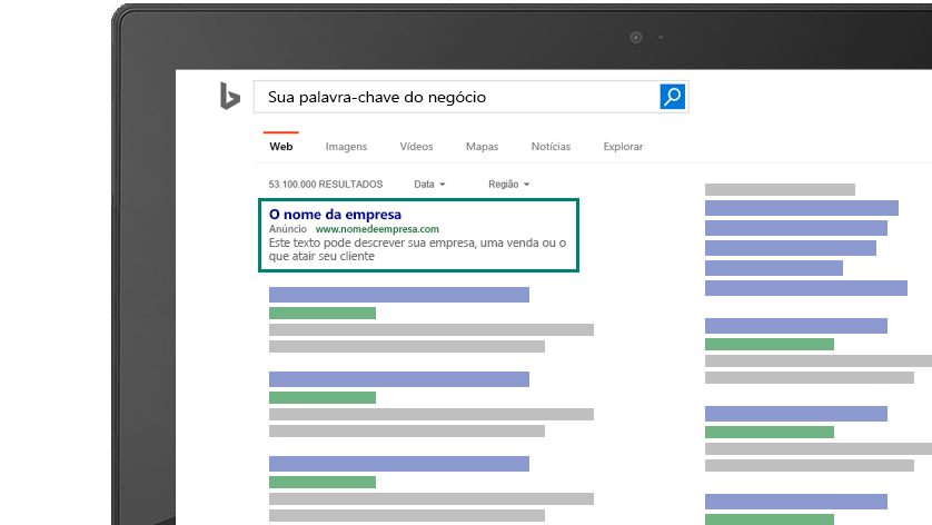 Imagem da tela de computador com a prévia de como seu anúncio associado a uma palavra-chave apareceria no Bing.